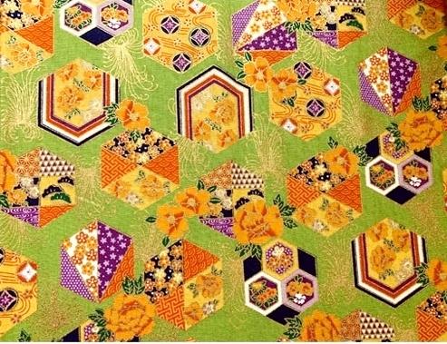 HJ2111 Kikko pattern hexagonal gold Japan fabric sell by the roll