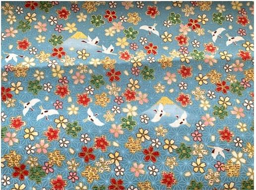 HJ2115 Cherry blossom Mt Fuji crane mountain bird asanoha fabric Japan wholesale