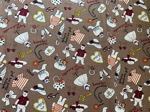 HJ2116 bear cotton mixed Linen 20% Japanese fabric