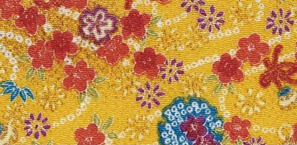 CR1052  CHIRIMEN CREPE Japan plum blossom Yukiwa fabric wholesale 12M