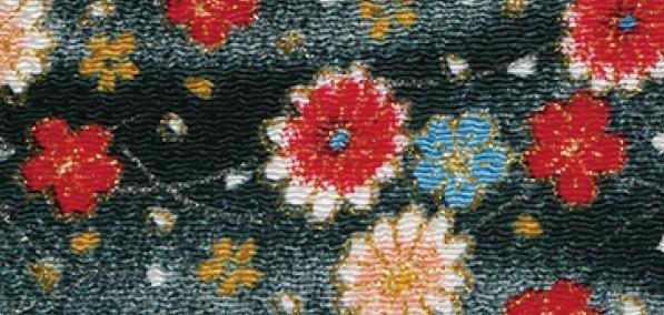 CR1054 CHIRIMEN CREPE Like kimono floral Japan fabric wholesale 12M