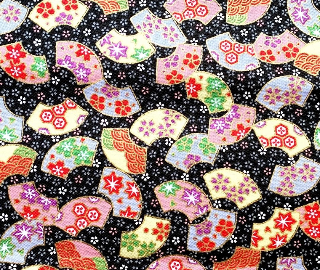 HJ2121 Folding fan Japan pattern fabric sell by the roll (36M)