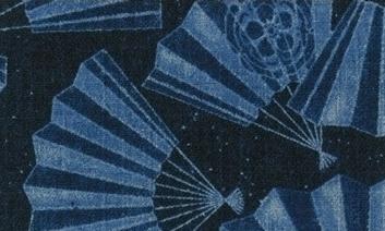 850350-2 Like Denim Folding fan Japan fabric sell by the roll (Sevenberry)