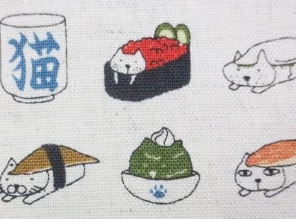 KK3001 SUSHI CAT cotton linen mixed Japanese fabric (cotton kobayashi)