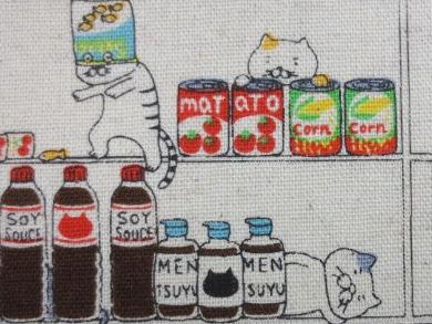 KK3003 SIDEBOAD CAT cotton linen mixed Japan fabric (cotton kobayashi)