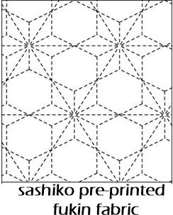 Sashiko pre-printed fukin fabric